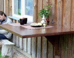 Wooden Wall Mounted Drop Leaf Table In Solid Oak   Space Saving Table    Dining Table   Kitchen Furniture   Fold Down Desk