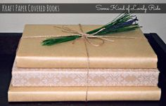 Kraft paper covered book decor - easy & inexpensive decorating!