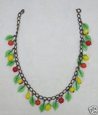 """Antique Art Deco 15 1/2"""" FRUITS Blown Glass Beads Necklace Apple Pears Lemons"""