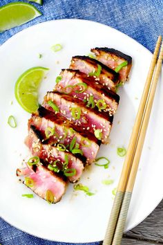 These seared ahi tuna steaks take only 6 minutes to make- they're healthy, crispy and seared on the outside, and medium-rare on the inside, and bursting with umami flavor! steak recipe Six-Minute Seared Ahi Tuna Steaks Tuna Steak Recipe Oven, Tuna Steak Recipes, Fish Recipes, Seafood Recipes, Dinner Recipes, Cooking Recipes, Healthy Recipes, Ahi Tuna Recipe Healthy, Recipes