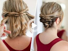 This Quick Messy Updo for Short Hair Is So Cool – Momtastic #easyhairstyles Cute Hairstyles Updos, Trending Hairstyles, Short Hairstyles For Women, Hairstyles With Bangs, Updo Hairstyle, Hairstyle Tutorials, Holiday Hairstyles, Homecoming Hairstyles, Hairstyles 2018