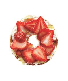 "Bagel With Ricotta & Strawberries  Spread --> ½ toasted whole-grain ""flat"" bagel with 2 tablespoons fresh ricotta. Top with ⅓ cup sliced strawberries. Drizzle with 1 teaspoon honey or agave nectar.    148 calories 