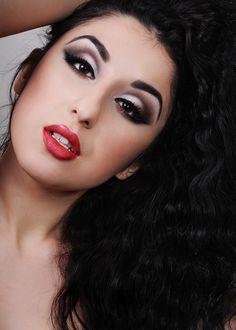Red lip/black & silver smoky eye