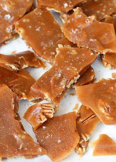 Sea Salt Pecan Toffee is salty-sweet HEAVEN! Get the recipe at barefeetinthekitchen.com