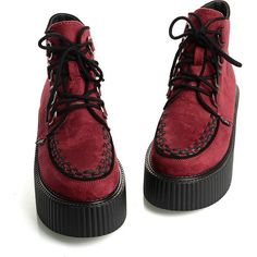 2014 Fashion Women's Red Sexy Lace UP High Top Flat PlatForm Lady's Goth Creepers Shoes Punk Wedge Pumps Shoes Warm Ankle Martin Boots