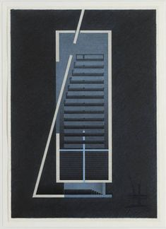 "Church of the Light, Ibaraki, Osaka, Japan by Tadao Ando. 1989. Lithograph with color pencil, 40 1/2 x 28 5/8"" (via MoMA)"