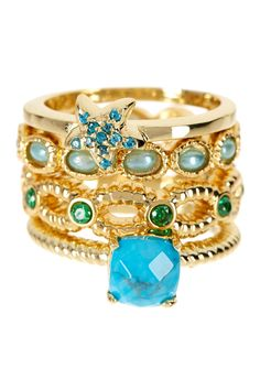 Sea Nymph Stack Ring Set by Sapanyu on @HauteLook $34.97 love the starfish on the top ring-so cute! :)