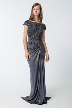Metallic Lace and Draped Jersey Gown in Duchess Grey - Tadashi Shoji