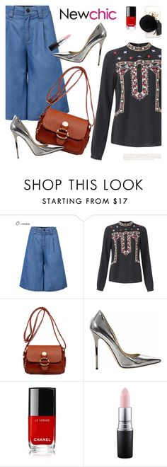 """""""NewChic Style 18: Beat of liffe"""" by bugatti-veyron ❤ liked on Polyvore featuring Jimmy Choo, MAC Cosmetics and Ashlyn'd"""