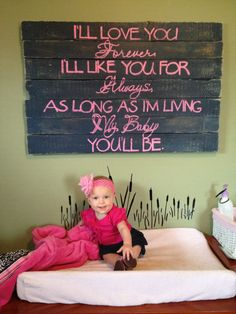 I'll Love You Forever, I'll Like You For Always Sign / Nursery Sign / Wall Hanging by PalletsandPaint on Etsy