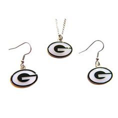 @Overstock.com - Green Bay Packers Necklace and Dangle Earring Charm Set - This charm set features 3/4-inch charms with the Green Bay Packers logo. This charm set's necklace comes with a 18-inch chain.  http://www.overstock.com/Sports-Toys/Green-Bay-Packers-Necklace-and-Dangle-Earring-Charm-Set/6165768/product.html?CID=214117 $12.99