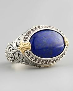 Oval Topaz-Bezel Lapis Ring by Konstantino at Neiman Marcus.