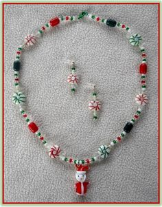 Christmas Earring and Necklace Jewelry by HoneyBeadsJewels on Etsy, $19.99