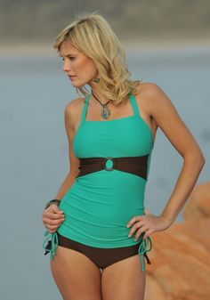 Found the swimsuit I want if I am pregnant during the summer months  Teal Cocoa Brown Ruched Tankini with Sash Modest Swimwear