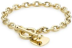 570db554abd9 Carissima Gold 9 ct Yellow Gold Oval Belcher Heart Tag T-Bar Bracelet    Continue with the details at the image link.