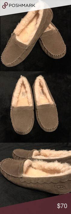 New UGG Moccasins Size 8 These are brand new without box Ugg moccasins in size 8. They are a brownish gray color with a thick fur lining. UGG Shoes Moccasins