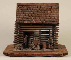 Folk art log cabin