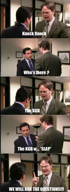 Dwight's Best Knock Knock Joke. I don't usually go for The Office but this is pretty funny!