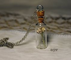 Necklace with tiny dried flowers