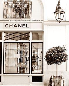 Paris France -Coco Chanel Boutique - 5 x 7- Fine Art Photograph- Portrait Style- Sepia- Fashion Photography -Fashion Art. $15.00, via Etsy.