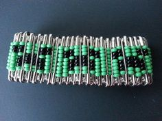 Minecraft - Creeper inspired safety pin bracelet