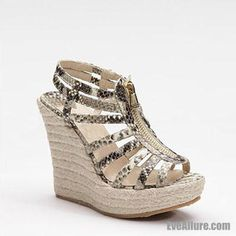 EveAllure 160 mm Peep Toe Sequin Leather Platform Palermo Metallic Espadrille Wedges - EveAllure
