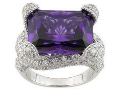 Charles Winston For Bella Luce(R) 24.45ctw Amethyst & Diamond Simulants Rhodium Over Sterling Ring