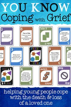 UNO inspired Coping with Grief game. Coping techniques Helping young people cope with the death and loss of a loved one. Helpful for family therapy and grief support groups. Family Therapy Activities, Grief Activities, Therapy Games, Counseling Activities, Therapy Tools, Play Therapy, Therapy Ideas, Art Therapy, Elementary School Counseling