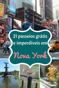 Confira a nossa lista com os 21 passeios grátis e imperdíveis em Nova York (Estados Unidos)! Parques, museus, lojas, etc! Tem de tudo!