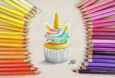 Unicorn Cupcakes, Polychromos, Faber Castell, Prismacolor, Colored Pencils, Video Link, Drawings, Youtube, Dessert