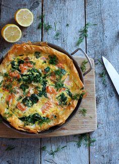 Er du en av de som synes paideig er for mye jobb, for vanskelig eller for mye styr? Ja? Da er dette paien for deg! Hurra! Jeg bruker nemlig filodeig for denne oppskriften – og den kjøper du ferdig. Du finner den vanligvis i kjøledisken ved siden av pizzadeigen. Og i motsetning til paideigen (som [...]Read More... Fish Soup, Salmon, Quiche, Main Dishes, Nom Nom, Dinner, Pizza, Breakfast, Recipes