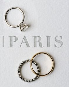 An Intimate Destination Wedding in Paris | Martha Stewart Weddings - Conor proposed with a ring from Diana Rodi Hall. Danielle's wedding band featured diamonds all around, while Conor's was a classic yellow gold ring. #engagementrings #weddingrings #pariswedding #weddingideas