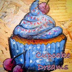 Blue and cherry cupcake art Cherry Cupcakes, Apple Art, Cupcake Art, Toffee, Blue, Painting, Sticky Toffee, Cherry Pies, Candy