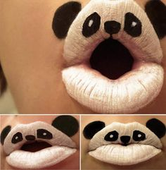 """Beautiful And Creative Animal Lip stick Art. Beautiful Photographs Of Creative Calenclock.  Paige Thompson a.k.a Viridis-Somnio, a body paint artist from United States Of America, have been creating this adorable selection of lipstick art animals called """"Animal-ipsticks"""" with an old set of Kryolan face paints that her family members have used for Halloween during the last 21 years. Funny Picture Remakes Of Popular Paintings."""