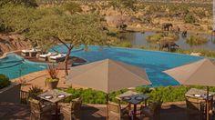 Infinity Pool Overlooking Elephant Watering Hole - Four Seasons Safari Lodge Serengeti Hotel Swimming Pool, Luxury Swimming Pools, Hotel Pool, Hotel Spa, Top 10 Hotels, Hotels And Resorts, Dream Vacations, Vacation Spots, Tanzania