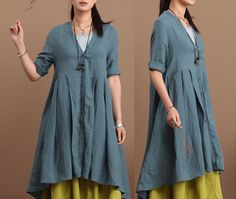 Loose Fitting Linen Long Shirt Blouse for Women  by clothnew88.