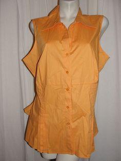 NEW ASHLEY STEWART Orange Stretch Slv-less Tie-back Button Shirt Top Plus Sz 20 #AshleyStewart #Blouse #Career