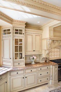 Prefab Kitchen Cabinets, Glass Kitchen Cabinets, Kitchen Cabinets Pictures, Kitchen Cabinet Remodel, Kitchen Sinks, Beautiful Kitchens, Cool Kitchens, Custom Kitchens, French Country Kitchens