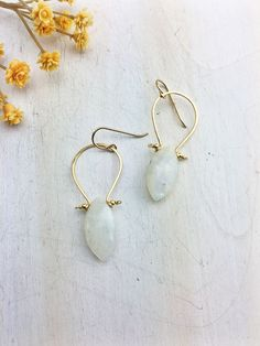 La Luna Bella Earring 'E' - Faceted Moonstone Marquis 14k Gold Fill Hoops