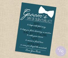 Groom's Day of Survival Kit Card (Printable File Only); Gift for Groom; To Groom from Bride; Wedding Day Survival Kit