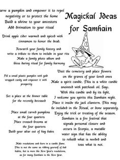 Magical ideas for Samhain (thanks Lindsey for post)