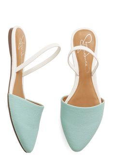 Atlanta on My Mind Flat in Blue - Mint, Solid, Daytime Party, Spring, Summer, Good, Slingback, Flat, Faux Leather, White