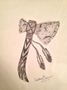 tomahawk tattoo meaning Feather Tattoos, Skull Tattoos, Leg Tattoos, Body Art Tattoos, Tribal Tattoos, Sleeve Tattoos, Tatoos, Native American Tattoos, Native Tattoos