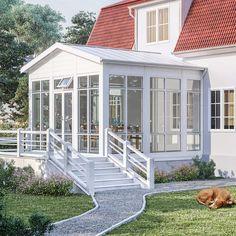 Komplett hagestue Dream Home Design, House Design, Planter Bench, Hot Tub Cover, Back Steps, Porch Area, Getaway Cabins, Villa, Modern Planters