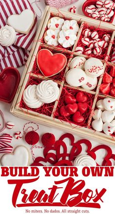 Build Your Own Treat Box with Interchangeable Inserts (Remodelaholic) Valentines Baking, Valentines Gift Box, Valentines Day Desserts, Valentine Cookies, Cookie Box, Cookie Gifts, Food Gifts, Sweet Box, No Bake Treats