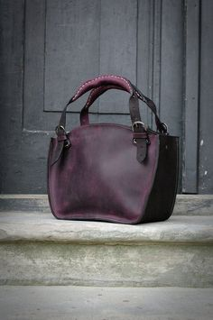 e2bbe19eef42 Leather Shoulder Bag with Clutch Set ladybuq office bag black and plum  natural leather vintage style shoulder bag women tote unique handbag