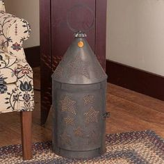 """HUGE PUNCHED TIN FLOOR LANTERN LIGHT Handcrafted 36"""""""" Primitive Tinner's Lamp Star Pattern Made in USA"""