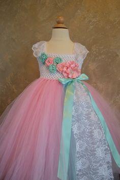 Vintage pink and aqua flower tutu dress by TutuSweetBoutiqueINC, $55.00