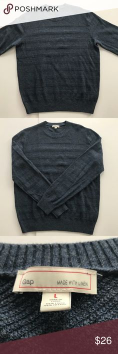 "Men's Gap Blue Crew Neck Sweater Textured Stripes Men's Gap Crew Neck Sweater Solid Blue with Textured Stripes Linen Cotton Blend Size Large 23.5"" underarm to underarm measured flat  29"" long GAP Sweaters Crewneck"
