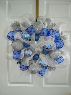 silver and blue christmas decor | Blue and silver christmas wreath | Wreaths & Holiday Decor